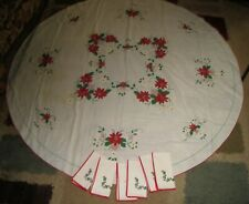 """Vtg Christmas Tablecloth Poinsettia & Holly Berry/6 Napkins 68"""" Linen Crafts/Use"""