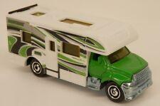 Matchbox Motor Home Toy Hauler RV Green/White w/Opening Door 1:87 Scale