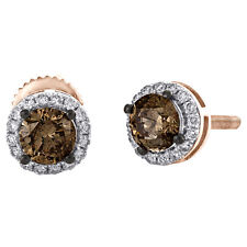 14K Rose Gold Genuine Round Brown Solitaire Diamond Stud 7mm Halo Earrings 1 CT