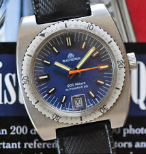 Vintage Bucherer Diving Watch Automatic Diver Blue Dial Runs & Looks GREAT!