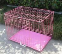 """New Pink 48"""" 2 Door Pet Cage Folding Dog Cat Crate Cage Kennel w/ABS Tray"""