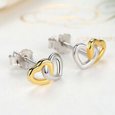Christmas Day Sales .925 Sterling Silver Double Heart 14k Charm Stud Earrings