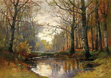 """Canvas Print Autumn forest scene Oil Painting Printed on canvas 16""""x20"""" L172"""