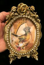 Vintage Matson Rose Vanity JEWELED gilt plate photo picture Frame ormolu old