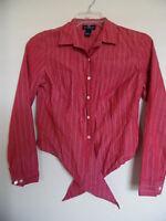 ANN TAYLOR LOFT Red  Striped Long   Sleeve  top Shirt  Blouse Sz 6