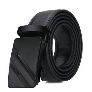 Mens Automatic Buckle Black Genuine Leather Ratchet Belt Waistband Strap Waist
