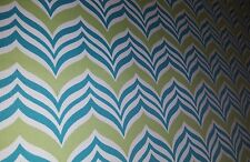 TURQUOISE AND LIME GREEN WAVING CHEVRON OUTDOOR  UPHOLSTERY FABRIC