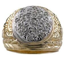 Mens Diamond Cluster Ring Sterling Silver or Yellow Gold Plated Gypsy Style