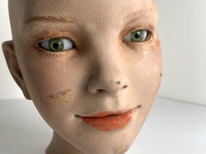 VINTAGE Child MANNEQUIN HEAD GREEN GLASS EYES THAT MOVE GLOW Mid-Century Modern