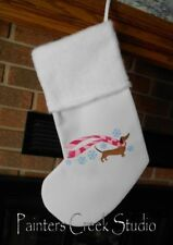 Winter Dachshund in Scarf, Doxie, HANDMADE EMBROIDERED CHRISTMAS STOCKING