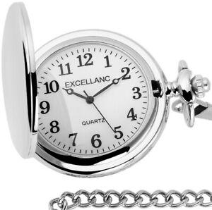 Excellanc Quarz Taschenuhr 46mm Weiss Silber glänzend 33cm Kettte + Sprungdeckel