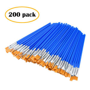 50-200PC Flat Paint Brushes Small Brush Bulk for Detail Painting Craft Gifts QE