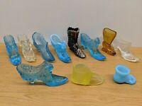 HUGE LOT OF VINTAGE GLASS SHOE BOOT SLIPPER FENTON DEGANHART VASELINE CARNIVAL