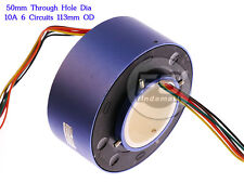 NEW 6Wires 380V AC/DC 10A 50MM Dia Metal Capsule Conductors Slip Ring Blue
