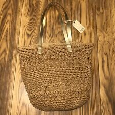 NWT St Johns Bay Tan Gold Brown Sand Beach Bag - Paper Straw Woven - NEW $60 Tag