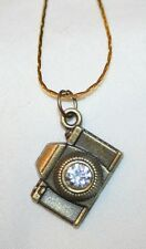 Sculpted Brasstone Camera Figural Rhinestone Photography Necklace ++++