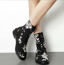 Womens Floral Pattern Vintage Combat Round Toe Ankle Boots Flat Heel Shoes