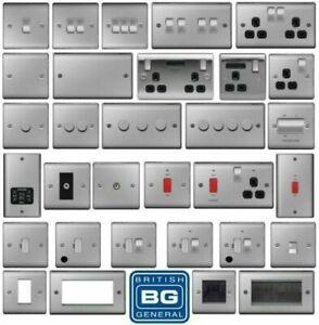 BG Brushed Steel Light Switches & Sockets Full Range Satin Chrome Black Inserts