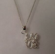 """Sterling Silver 925 Love Pendant Necklace Chain 16"""" Gift For Valentine's Day."""