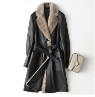Genuine Leather Coat With Real Fur Collar