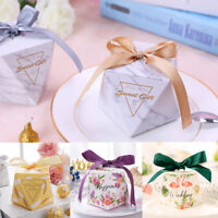 10Pcs Diamond Paper Candy Box Wedding Party Sweets Candy Favor Boxes with Ribbon