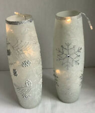 Tall Frosted Lit Up Christmas Jars Vases, Snow Flakes Pine Cones, Battery