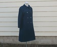 Vintage Mod 60s Blue Canvas London Fog Maincoat Raincoat Trench Zip Lining S/M