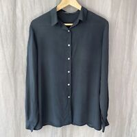 *VINTAGE* Graphite Long Sleeve SIZE 14/16 UK Button Up Blouse V1