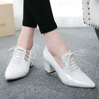 New Womens Patent Leather Shoes Lace up Pointy Toe Block Heel shoes Casual Pumps