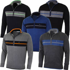 Men's Thin Knit Striped Zip Neck Cotton Jumpers & Cardigans
