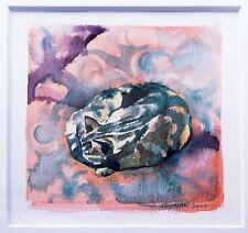 Elizabeth Spiro *1944 London: Schlafende Katze auf Kissen Aquarell, Tierminiatur
