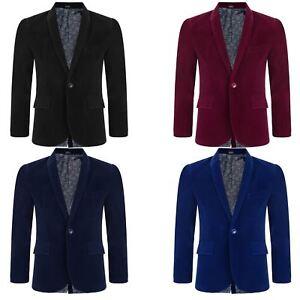 Boy Velvet Lining Suit Blazer Kid Paisley Jacket Smart Casual Formal Coat 6M-15Y
