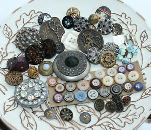 ANTIQUE Assorted Buttons WONDERFUL VARIETY  Lot L #B