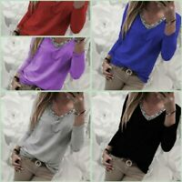 Pullover Loose T-Shirt Long Sleeve Womens Tops V Neck Solid Casual Jumper