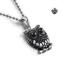 Silver owl pendant solid stainless steel ball chain necklace