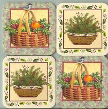 Longaberger Coasters Christmas Basket Fruit Bird Pinecones Lgt Holly Greenery