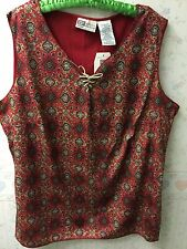 Red Print Sleeveless Top - Suede Lace Up - Size 18/20 - Faded Glory - NEW