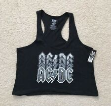 AC/DC Black Crop Women's Racerback Tank Top Shirt Pullover Sz Medium NEW