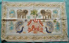HANDMADE ANIMALS EMBROIDERY ON COTTON CLOTH WALL HANGING TAPESTRY HOME DECOR