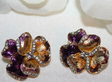 STRIKING CROWN TRIFARI SIGNED RHINESTONE AND PANSY CLIP EARRINGS-EXCELLENT!!