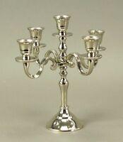 Kerzenleuchter 22cm Höhe 5-flammig vernickelt Kerzenständer Kerzenhalter Silber