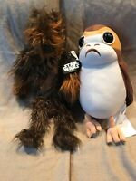 """Lot of 2 Star Wars Chewbacca and Porg 24 inch 24"""" Plush Chewy Jedi New Hope"""