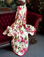 Victorian  Bouquet Roses Floral French Chic Shabby Country Bedroom Blanket,Throw