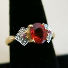 14K Yellow Gold Red Ruby Topaz Ring with 6 small Diamonds Size 7 4.0g [3648]