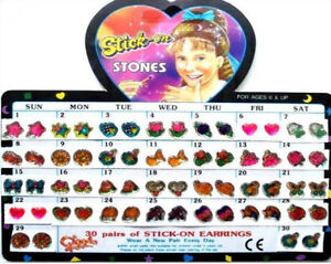Stick On Earrings Girls Childrens Fashion Costume Jewellery Party Bags Filler