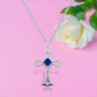 14k White Gold Finish Cross Pendant Necklace 2.00 Ct Blue Sapphire & Diamond
