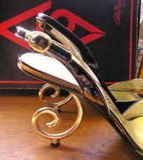 Vintage 80'S ALBAFRESE Roma UK4 EU37 Stiletto SANDAL BLACK/GOLD RARE EXCELLENT C