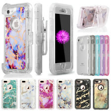 Marble Pattern Clear Shockproof iPhone Case Cover Fits Otterbox Defender Clip
