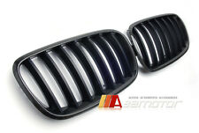 2007-2013 BMW X5 E70 X6 E71 E72 Carbon Fiber Front Hood Kidney Grilles 1x1 Weave