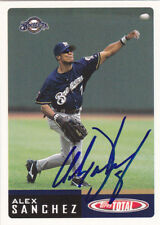 ALEX SANCHEZ MILWAUKEE BREWERS SIGNED CARD TAMPA BAY RAYS GIANTS DETROIT TIGERS